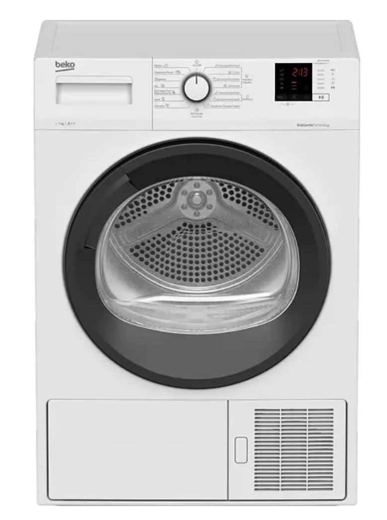 Secadora - Beko DHS 7413 GAO, Bomba de calor, 7 Kg, 16 Programas, 65 dB, Blanco