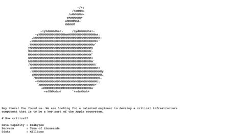 El lado más hacker de Apple: usan una web oculta para contratar a ingenieros de infraestructuras en la nube