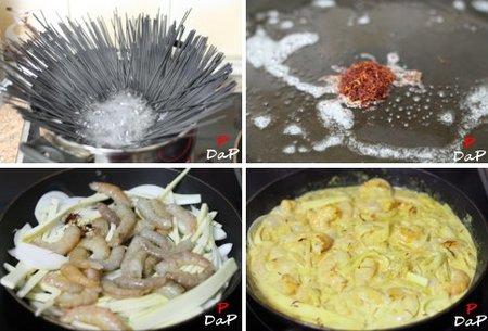 Cómo  hacer espaguettis negros con crema de azafrán y langostinos.