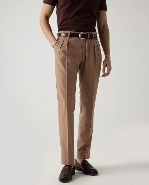 Pantalón de vestir de hombre slim en cámel