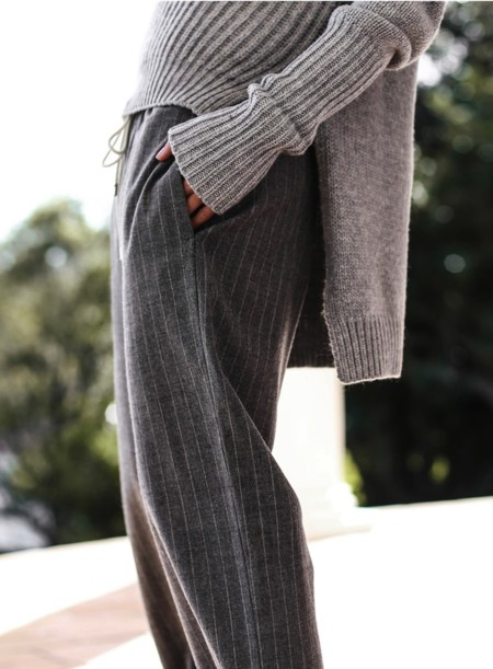 Grey Pinstripe Pants Chunky Knit Sweater Chronicles Of Her 02