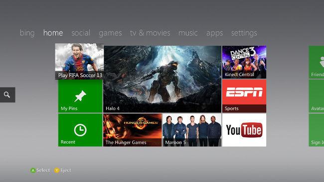 Xbox Home tras la actualización de octubre