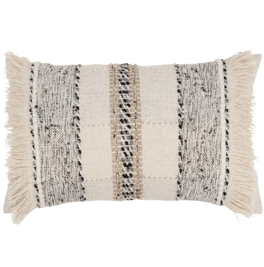 Funda de cojín de algodón color crudo y gris 30x50