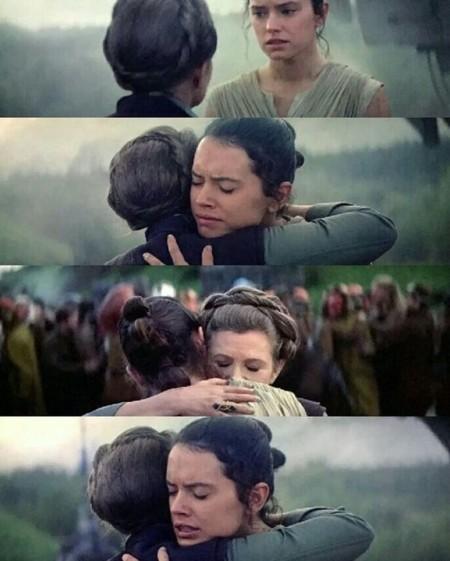 Leia y Rey en la escena que comenta Abrams