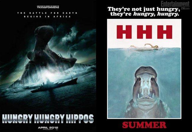 Carteles humorísticos de películas ficticias sobre el juego de los hipopótamos