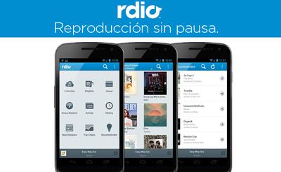 Rdio para Android, ahora puede reproducir canciones sin pausa