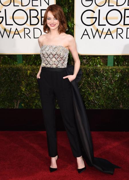 Emma Stone mono Golden Globes 2015