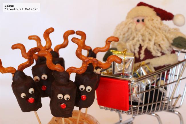 Renos de chocolate y nubes receta de navidad for Postres para navidad originales