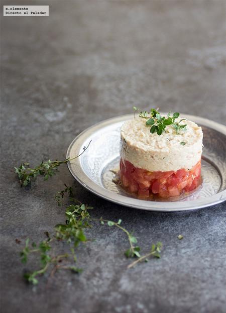 tartar de tomate con rillete de atún