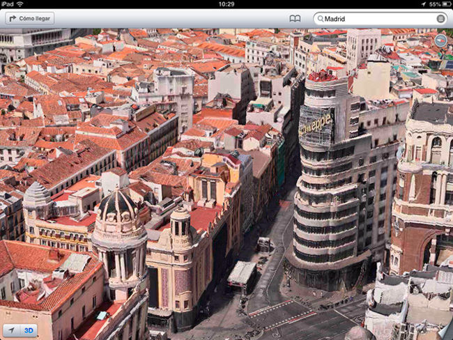 Mapa 3D de Madrid en iOS 6 beta 4 (Flyover)
