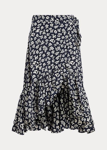 Falda tipo pareo de crepé con estampado floral