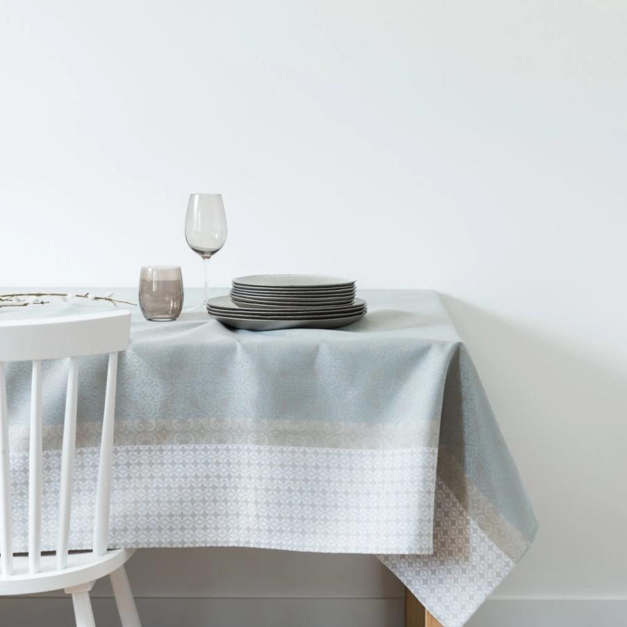 Mantel estampado azul, gris y blanco 150x350