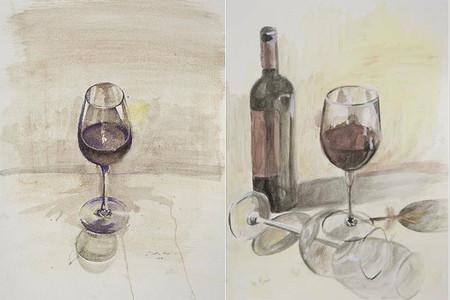 Pinturas sobre el vino realizadas con vino. II Encuentros de Pintura al Vino en Murcia