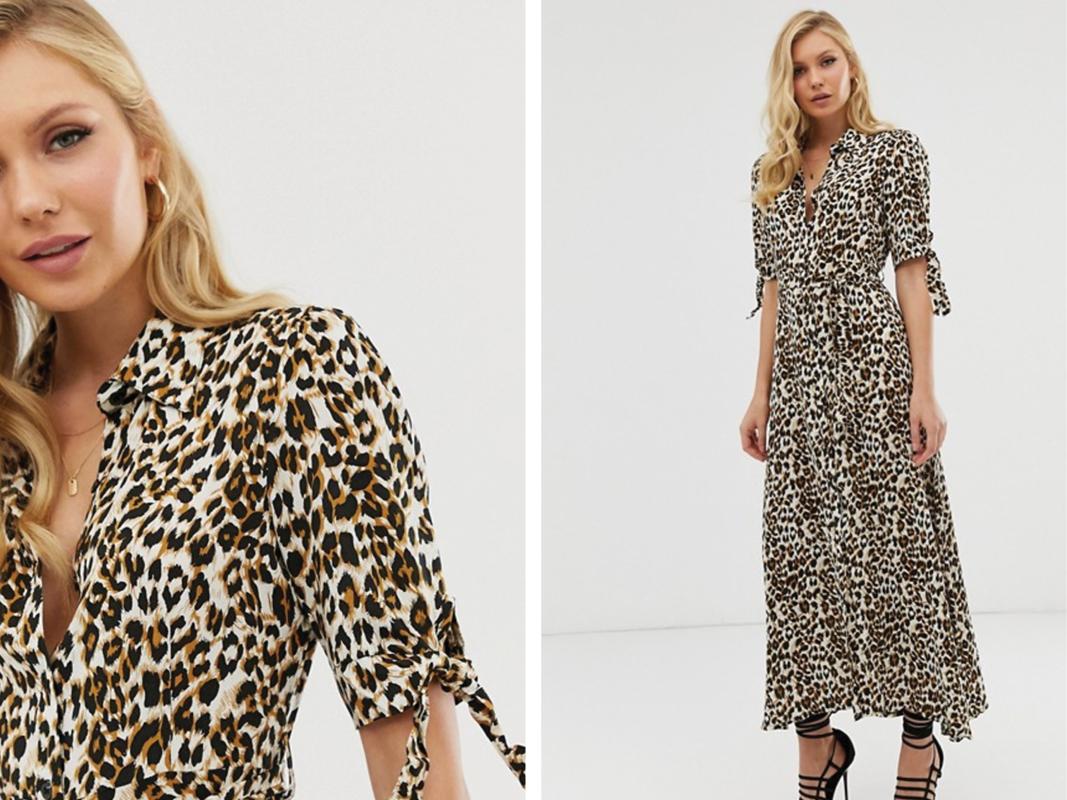 Vestido camisero largo con estampado de leopardo de Zibi London