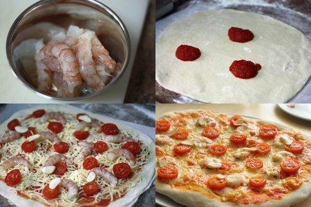 Receta de de pizza de gambas al ajillo. Con fotos