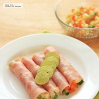 Rollos de jamón con ensalada de verduras. Receta