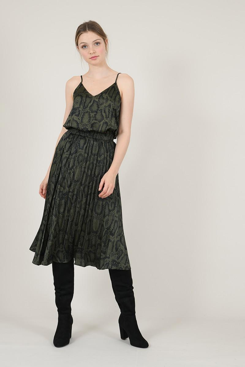 Falda plisada con estampado animal