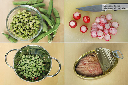Receta de habas frescas con rabanitos y ventresca. Pasos