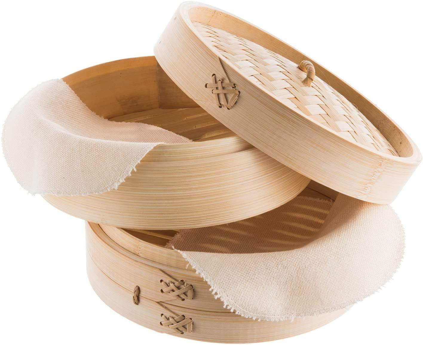 Reishunger Vaporera de bambú (Ø 20 cm, 2 Pisos) para arroz, Dim Sum, Verduras, Pescado y Carne, Incluye 2 Toallas de algodón, para 2 Personas