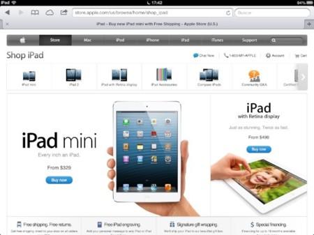 La web de la Apple Store se moderniza con nuevos menús y controles para pantallas táctiles