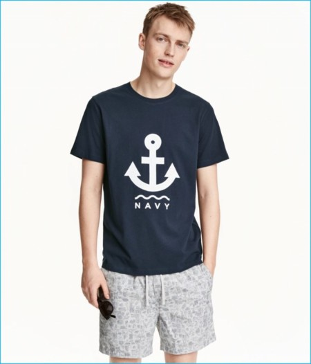 Hm Navy Graphic T Shirt 800x935