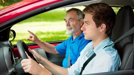 Abuelo y nieto al volante