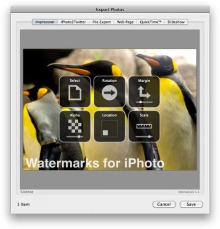 Impression for iPhoto, marcas de agua en tus fotos