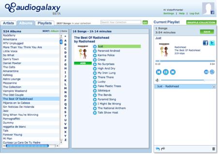 La nueva interfaz web de Audiogalaxy