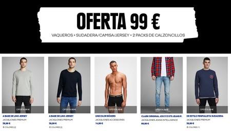 Promoción Jack & Jones: pack de vaqueros, una sudadera/camisa/jersey y un pack de calzoncillos por 99 euros