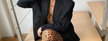 Nueve vestidos de leopardo que llevar con blazer negra para comerse las noches de verano