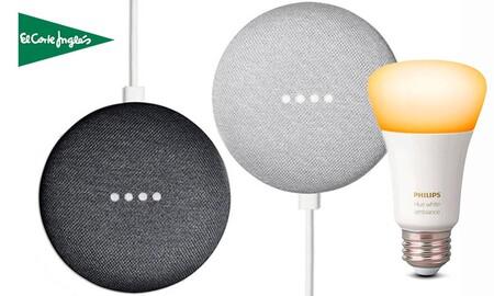 Chollazo: el Google Nest Mini con una bombilla Philips Hue te sale por unos 55 euros menos en el Día Mundial del Shopping de El Corte Inglés