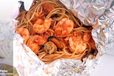 Espaguetis en papillote. Receta