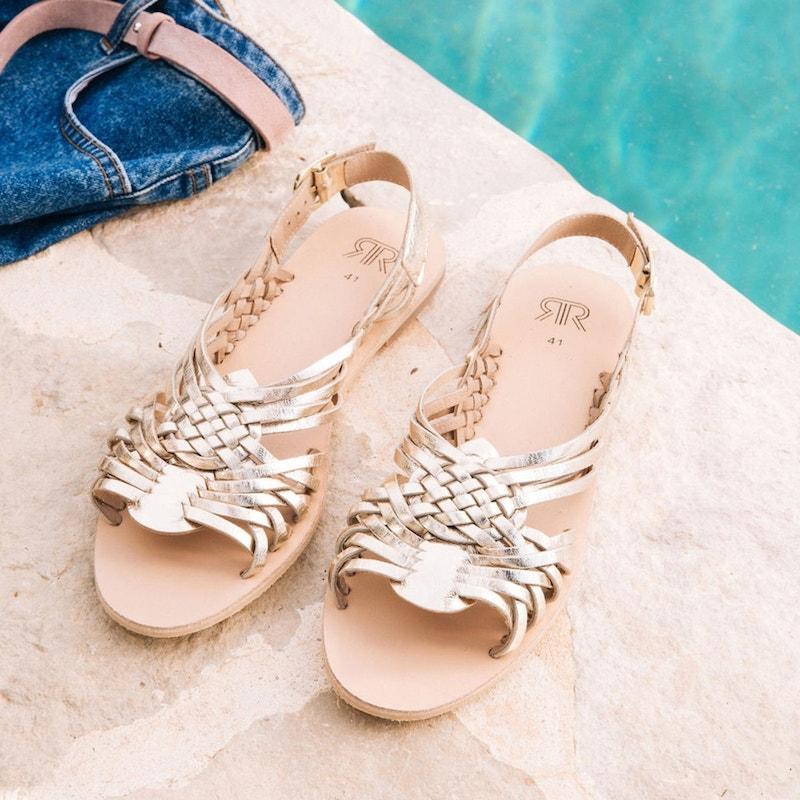 Sandalias planas trenzadas de piel
