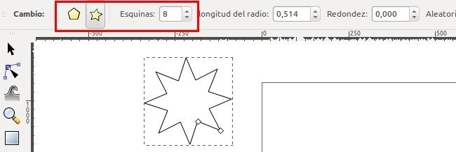 Los controles de la herramienta Estrellas y polígonos