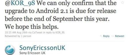 Sony Ericsson Xperia X10 actualizará a Android 2.1 a finales de septiembre