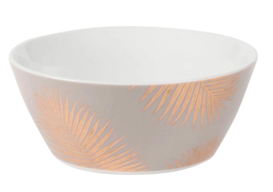 Cuenco de porcelana con estampado de hojas