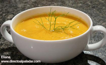 Crema de hinojo y zanahoria. Receta