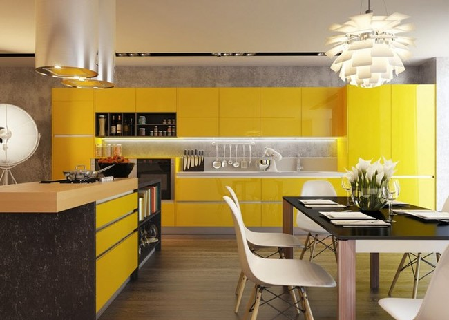 Cocina Color Amarillo Con Negro 2decoracionymobiliarioes
