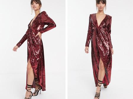 Vestido Escotado Asimetrico De Lentejuelas De Asos Edition Roj