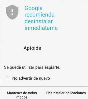 Google recomienda desinstalar inmediatamente Aptoide de