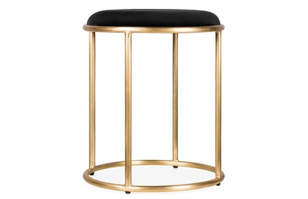 Zora Round Metal Low Stool Velvet Upholstered Seat Black And Brass 45cm
