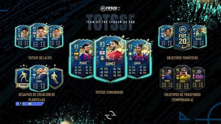 FIFA 20: TOTSSF. Todas las cartas del Equipo de la Temporada Hasta Ahora de la Comunidad, la EFL y los objetivos temáticos