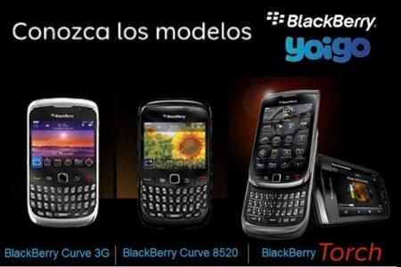 Yoigo lanza servicios Blackberry en julio junto a la Curve 8520, Curve 3G 9300 y Torch 9800. Precios oficiales