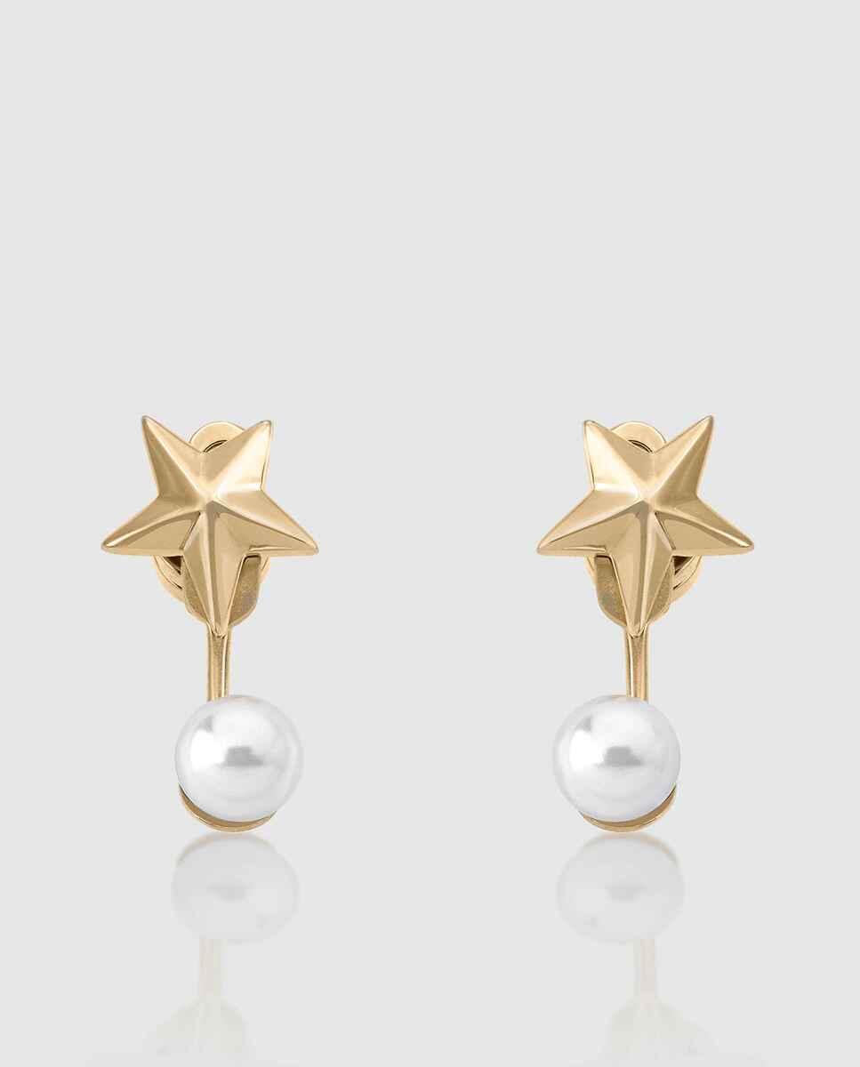 Pendientes Majorica Rock Star de acero con perla
