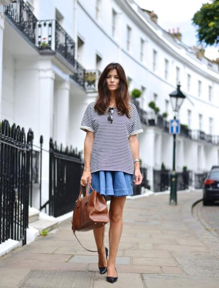 Falda vaquera camiseta rayas