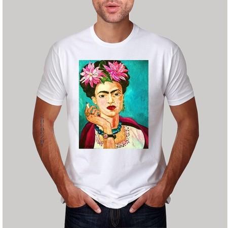 7edb1e4af Nueva Llegada De Moda Hombre Camiseta Dise O De Arte Fumar Frida Kahlo T  Camisa De