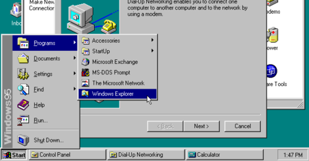 Menu y barra de tareas de Windows 95
