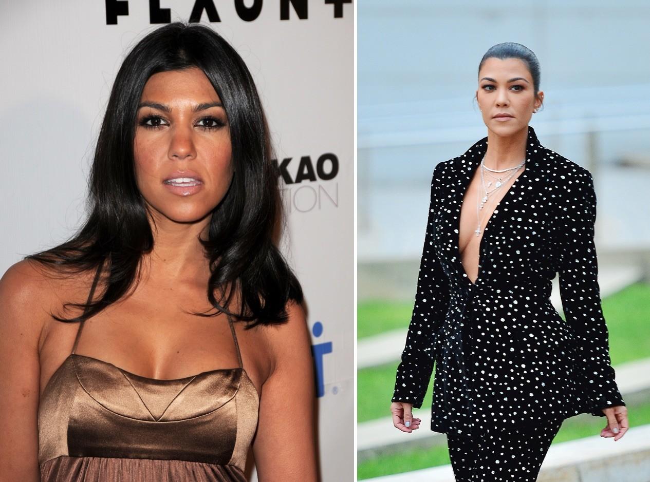 Kourtney Kardashian en 2008 y en 2018