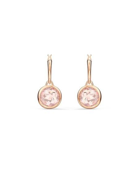 Pendientes Swarovski En Oro Rosa Con Piedra Rosa