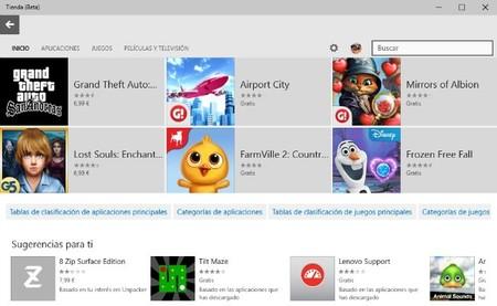 La tienda de aplicaciones de Windows 10 añade una sección de cine y televisión